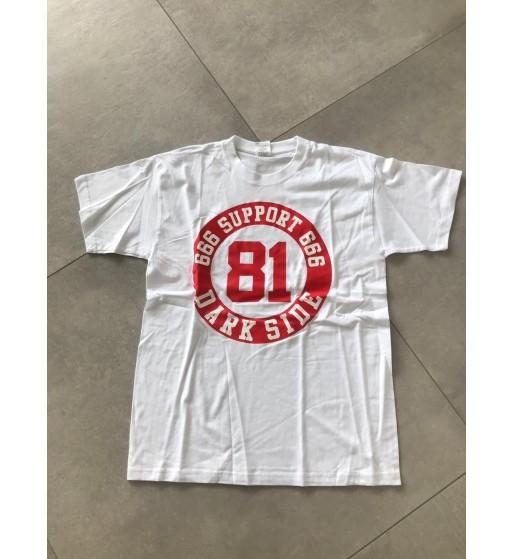 Weißes Shirt mit rundem Rotem Support 81Dark Side